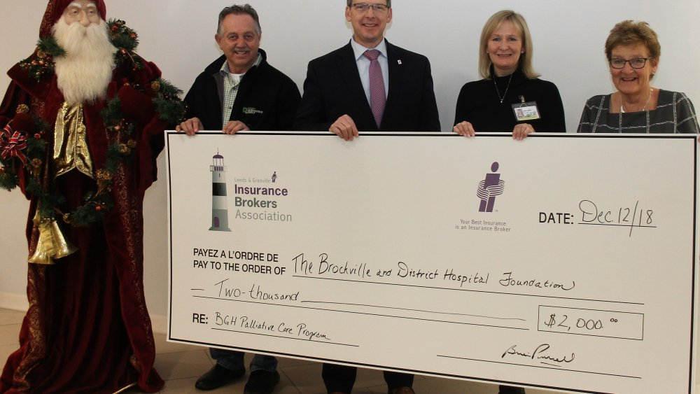 Leeds and Grenville Insurance Brokers Association donates in Palliative Care Fundraising program